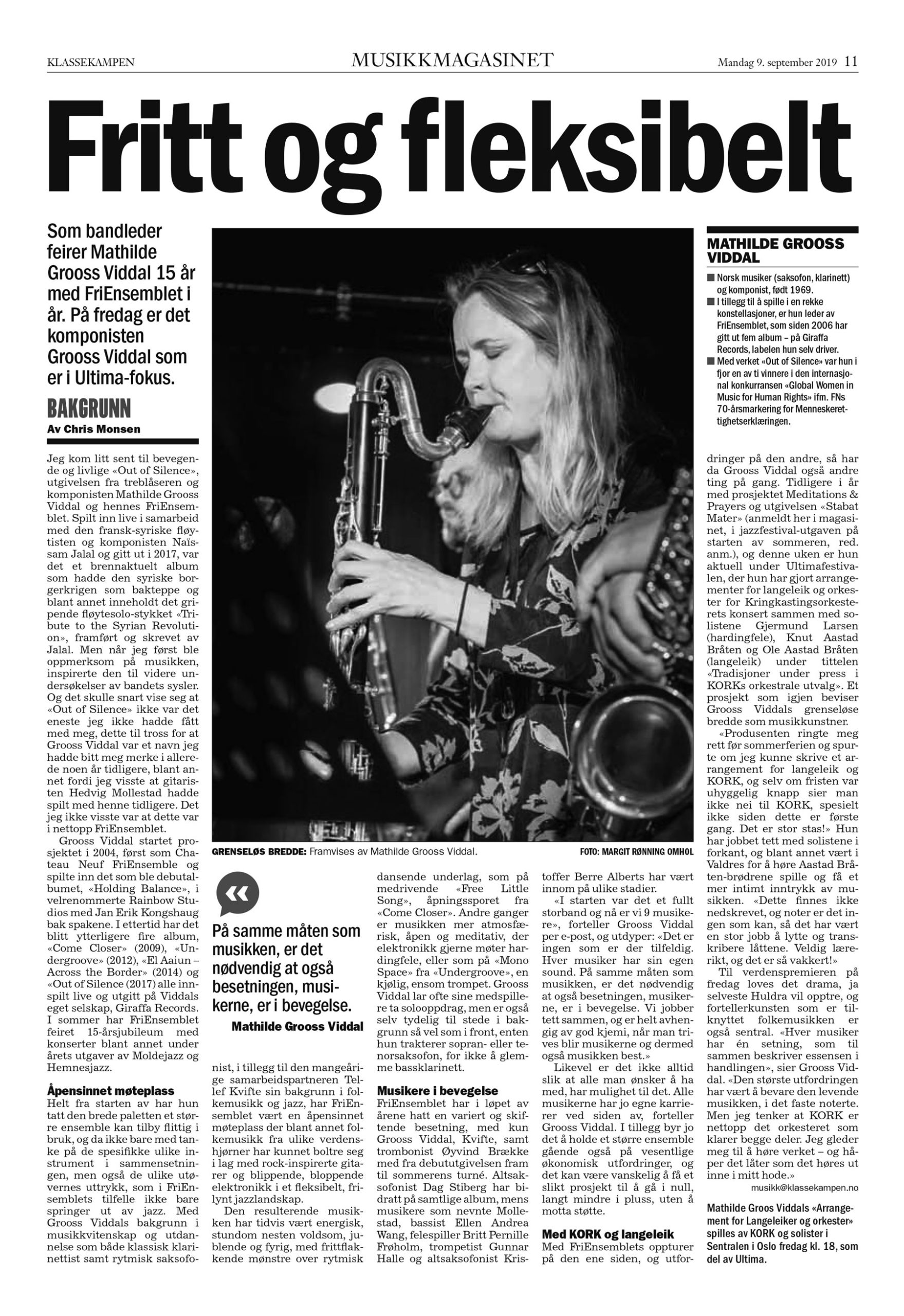 MusikMagazinet Sep 2019 – Mathilde Grooss Viddal